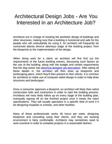 Electrical designer job description by jacksonthoma issuu architectural design jobs are you interested in an architecture job malvernweather Choice Image