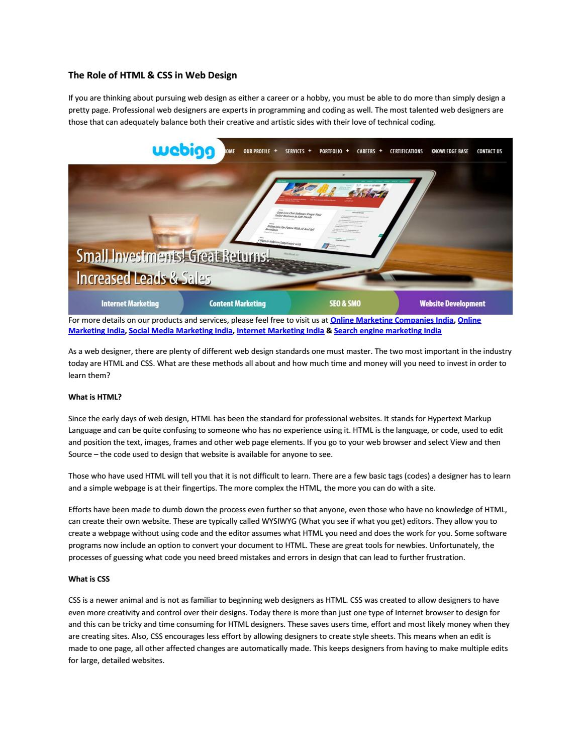 The Role Of Html Css In Web Design By Online Marketing Company Issuu