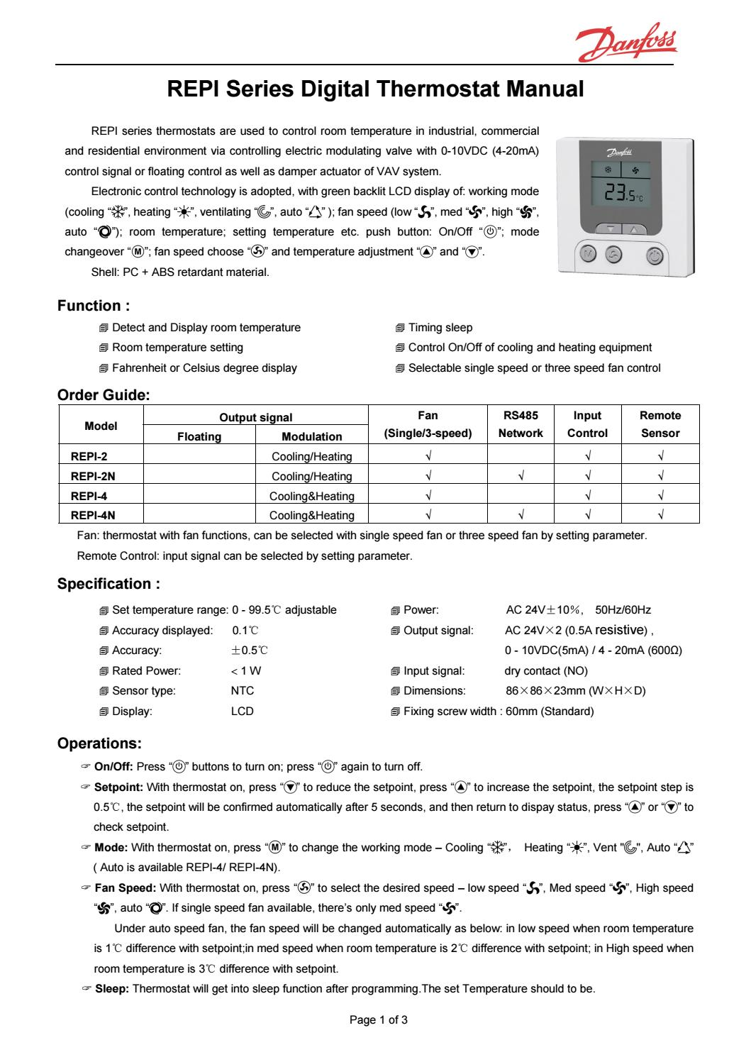 Repi Digital Thermostat With Modulating Output Danfoss By Marcelo M Room Wiring Diagram Quaiotti Issuu