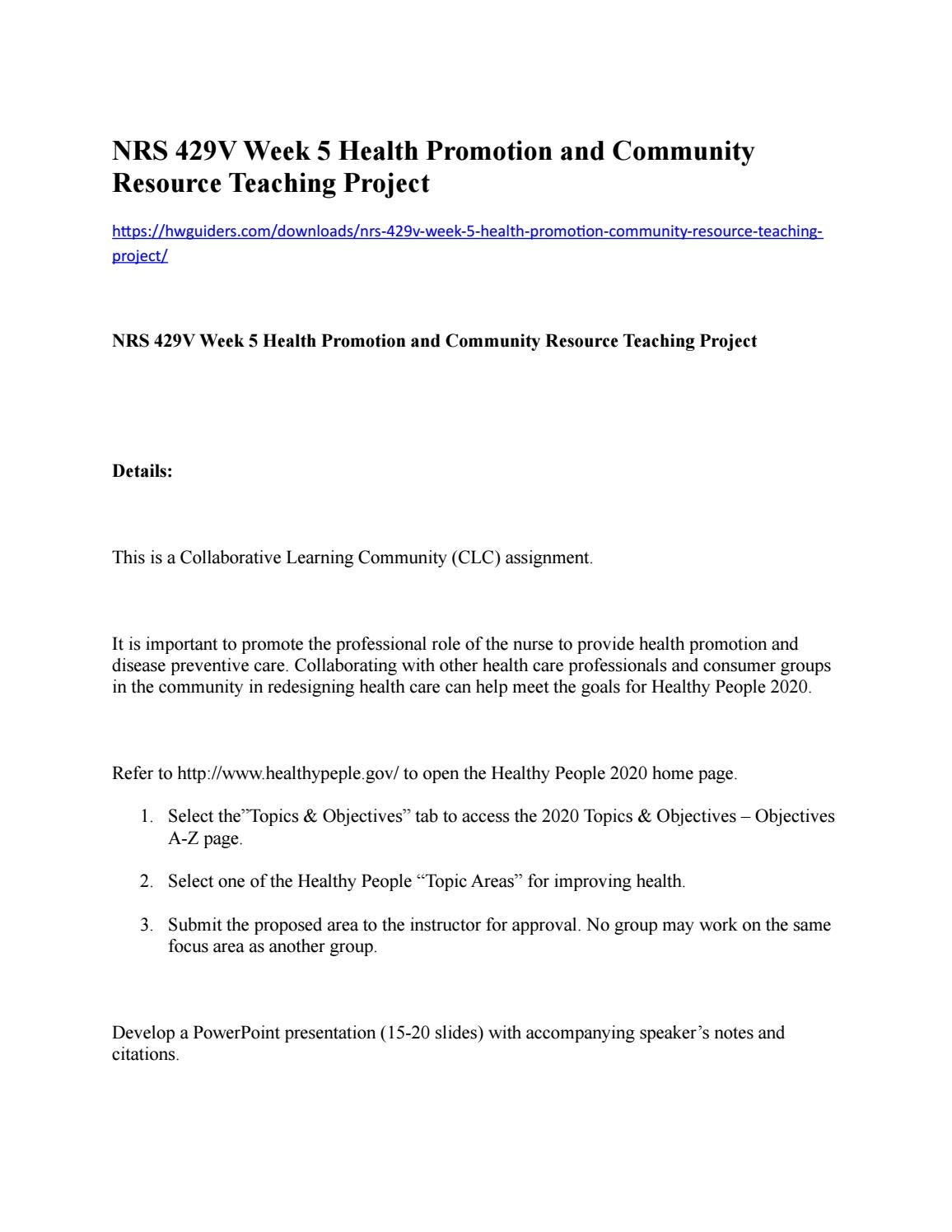 Nrs 429v week 5 health promotion and community resource teaching