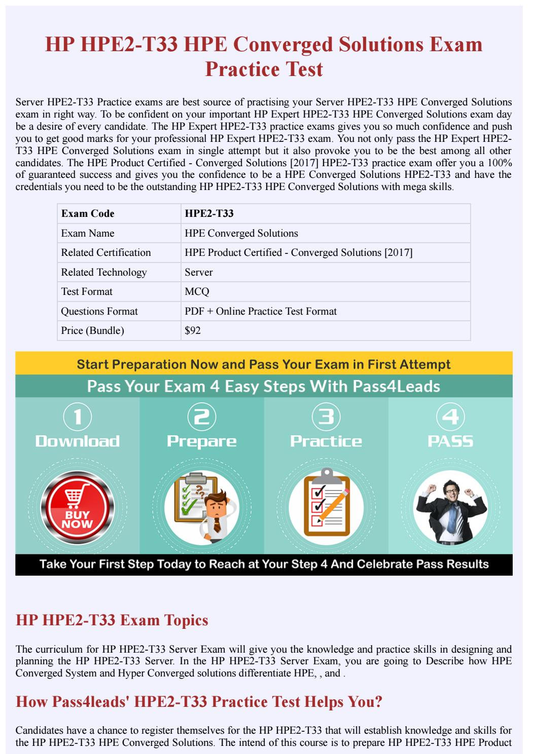 Server HPE2-T33 PDF Questions by Pass4leads Exam Questions