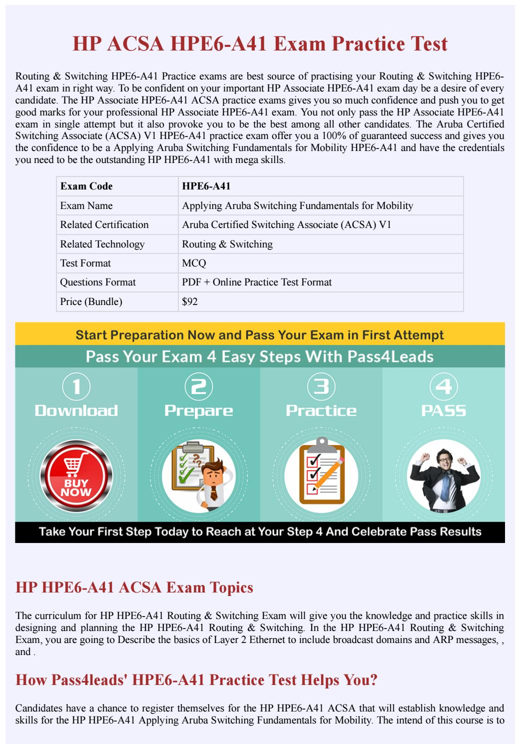 HP HPE6-A41 ACSA Practice Test - Updated 2018 by Pass4leads