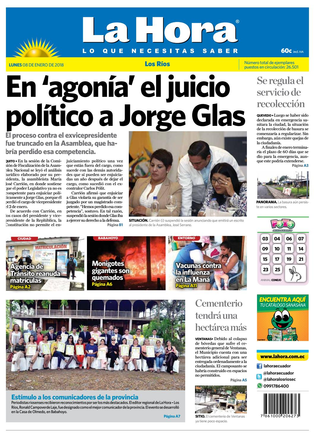 Los Ríos 08 de enero de 2018 by Diario La Hora Ecuador - issuu