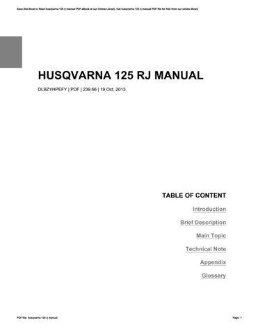 husqvarna 125 rj manual by mail2277 issuu rh issuu com CR 125 Top Speed Honda 125