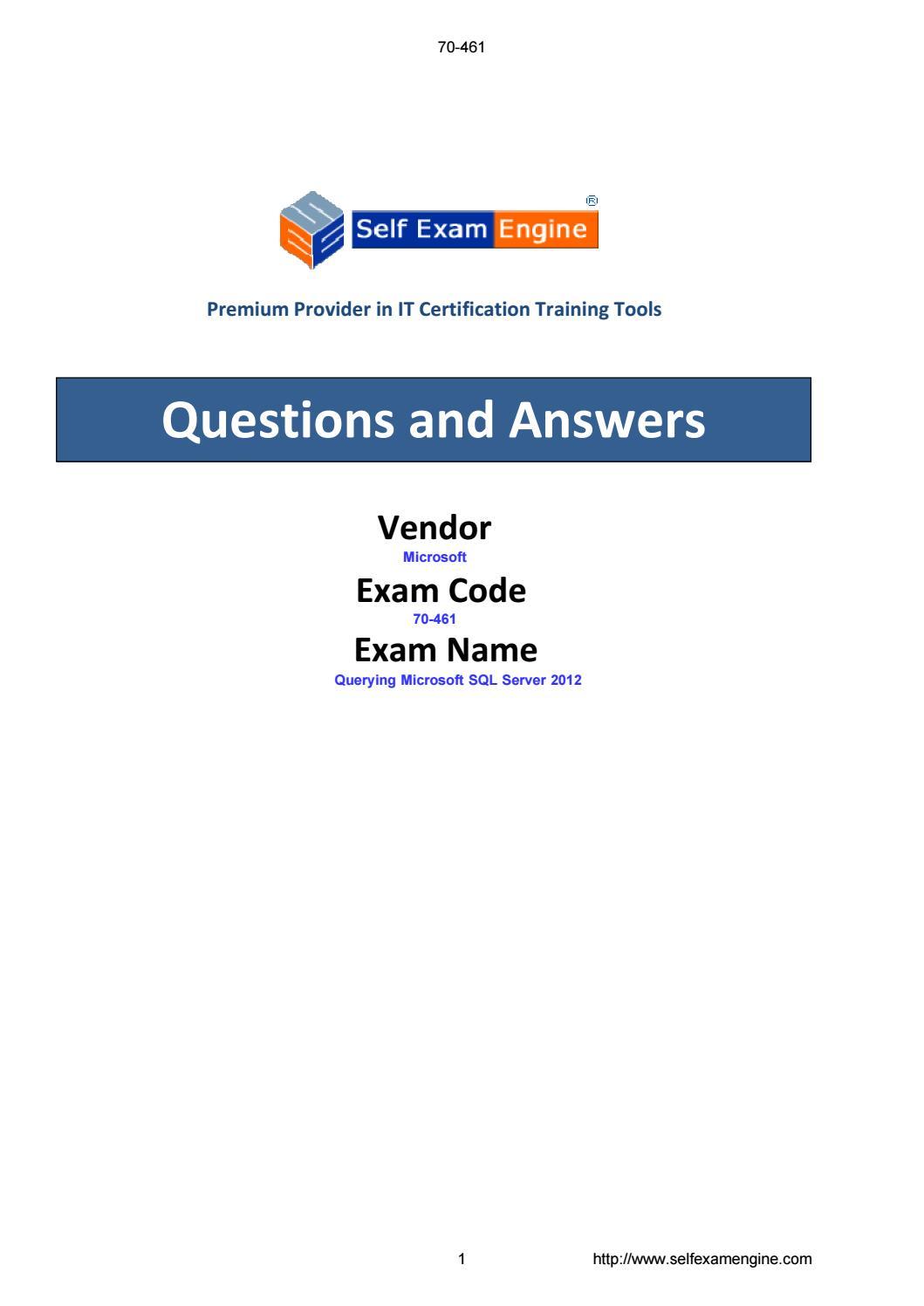 Exam 70 461 Querying Microsoft Sql Server 2012 By