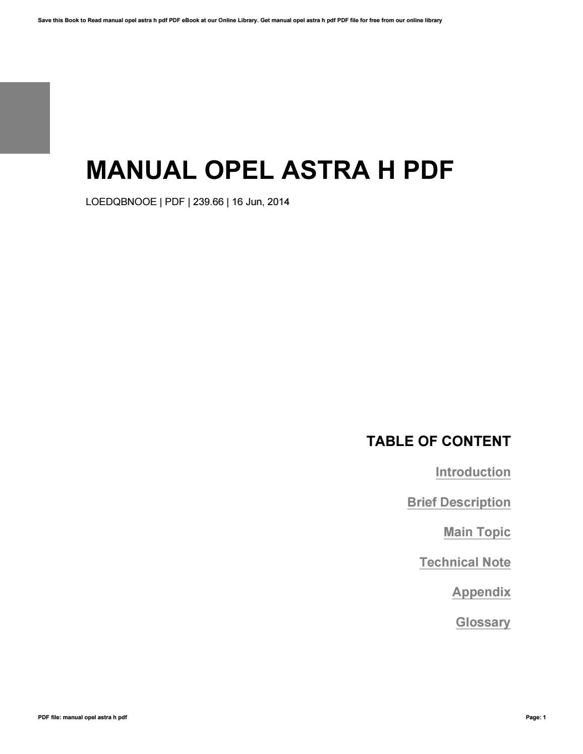 Pdf vauxhall/opel astra workshop service manual 2004 2005 2006.