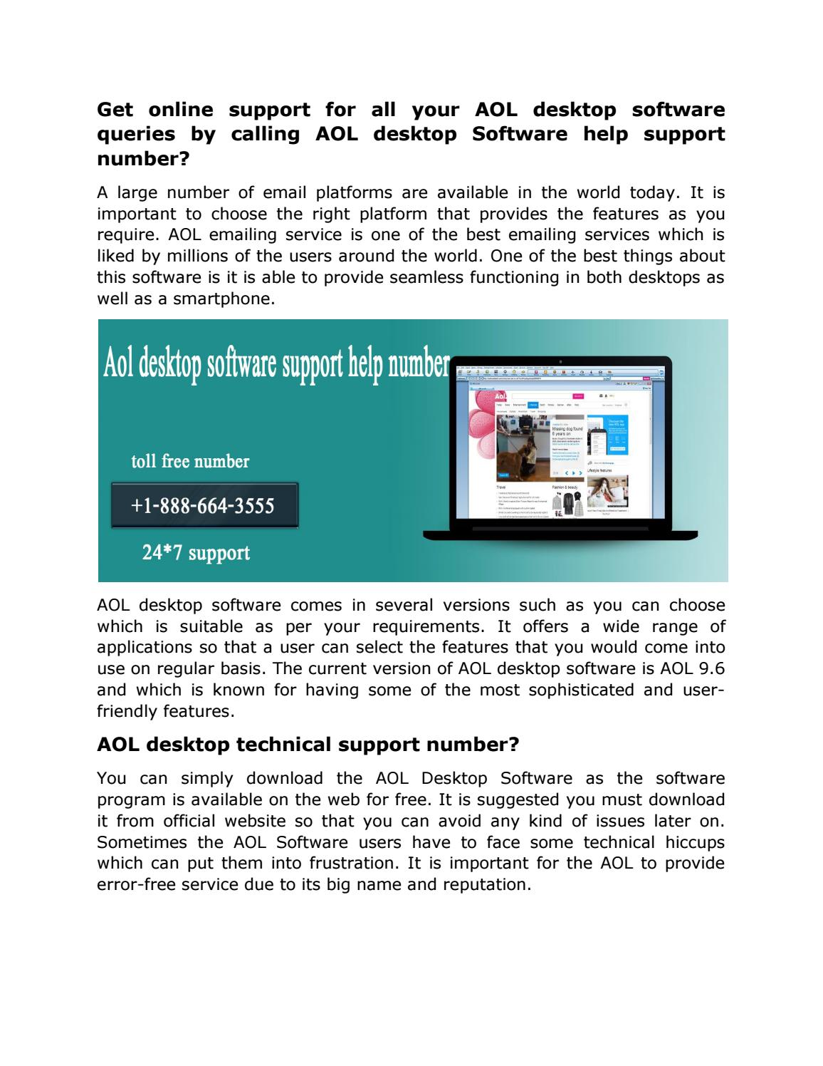 aol desktop software help support number 1 888 664 3555 by