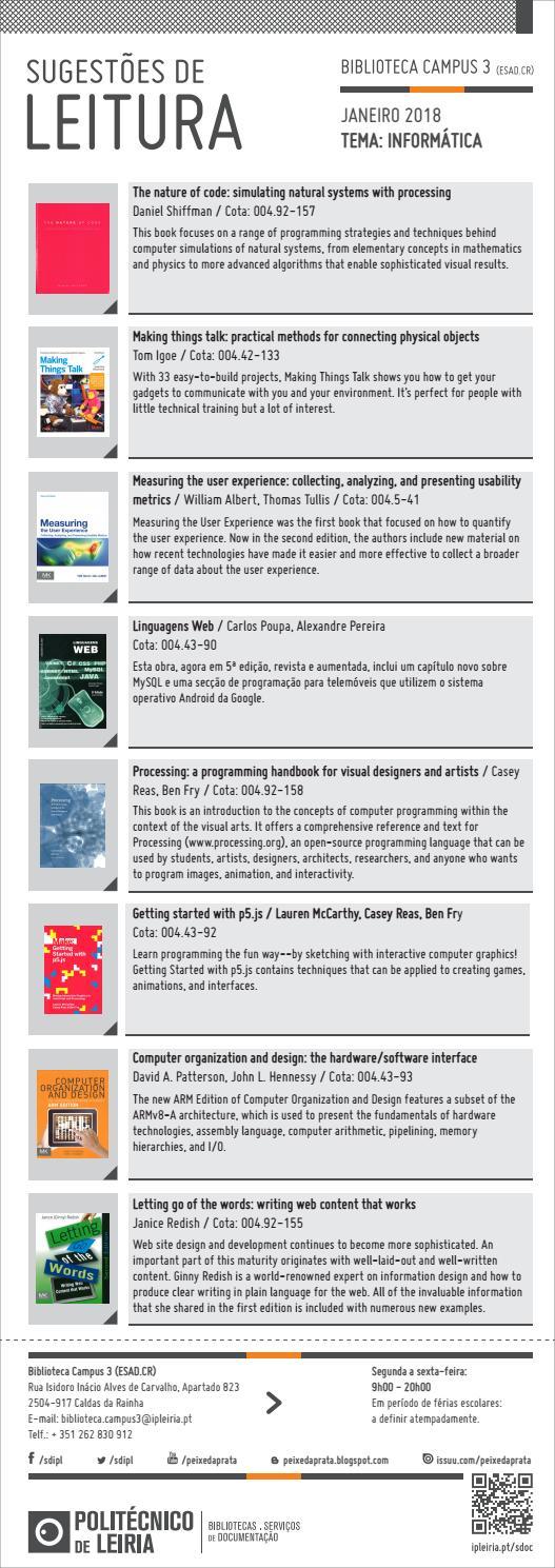 Sugestoes De Leitura Biblioteca Campus 3 By Bibliotecas Do Politecnico De Leiria Issuu