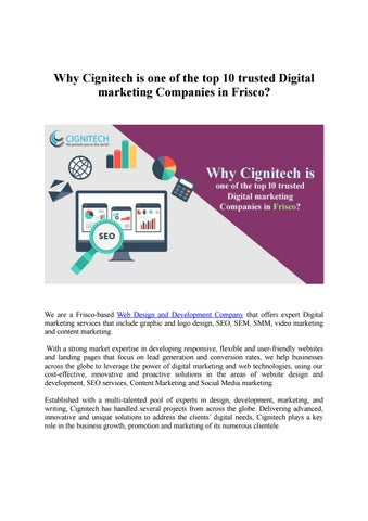 Why Cignitech is one of the top 10 trusted Digital marketing