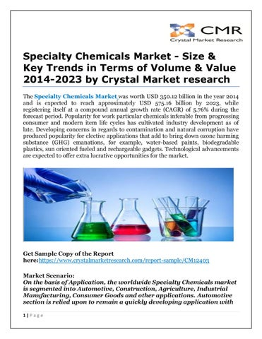 Specialty chemicals market size & key trends in terms of