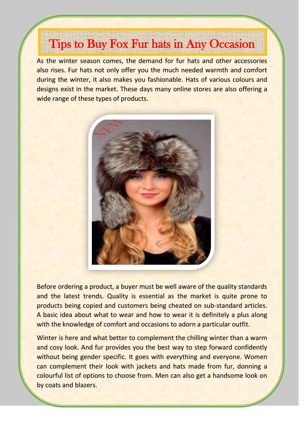 46da650d41179 Tips to buy fur hats in any occasion by AMIFUR - issuu