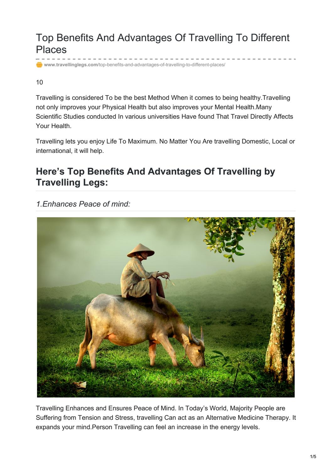 Top benefits and advantages of travelling by Travelling Legs