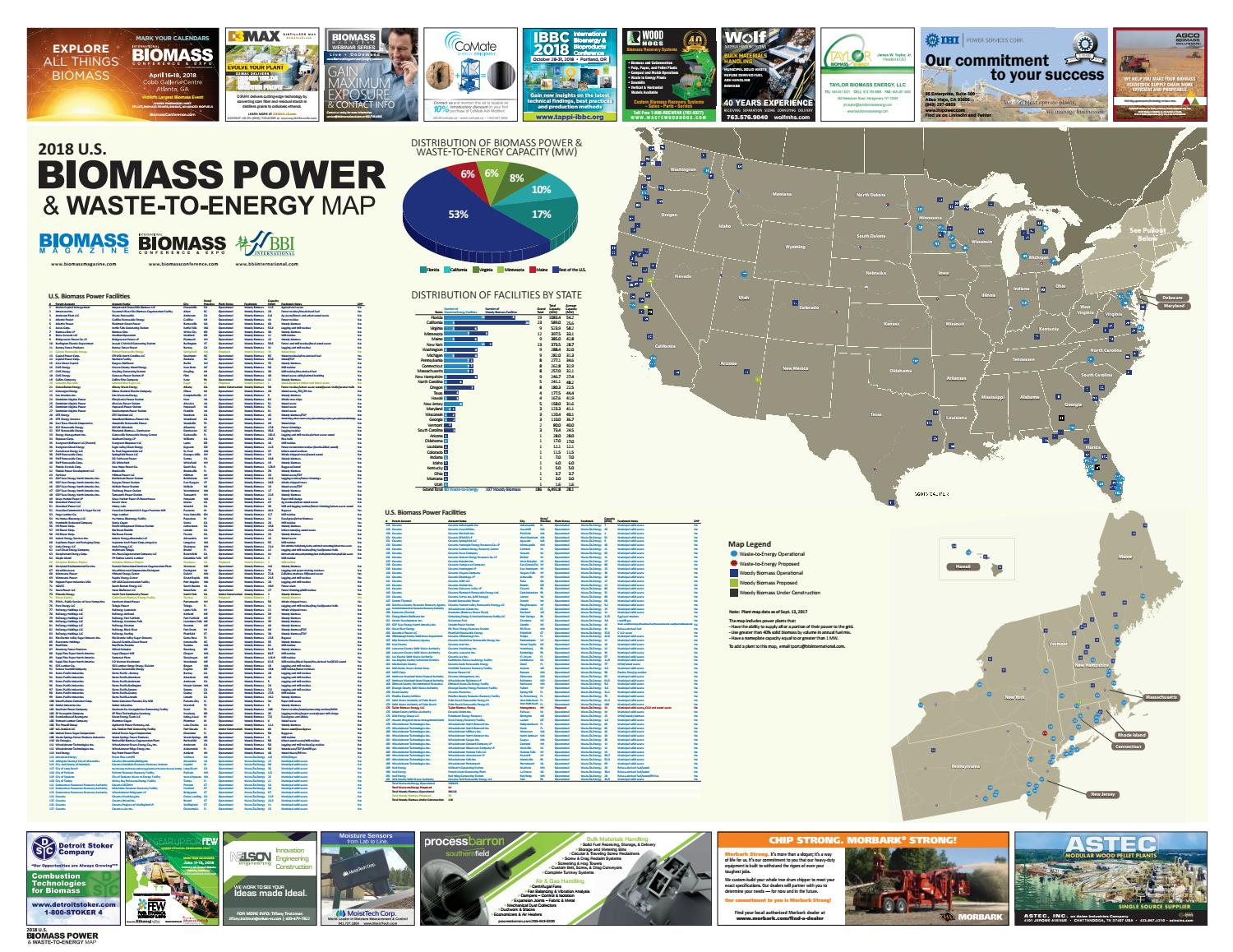 2018 Biomass Power Amp Waste To Energy Map By Bbi