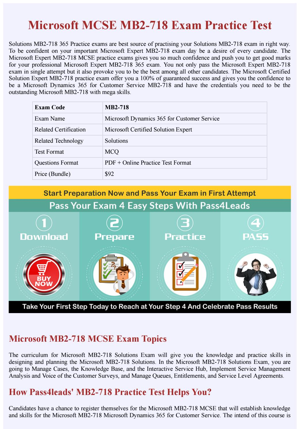 Microsoft Mb2 718 Mcse Practice Test Updated 2018 By Braindumps