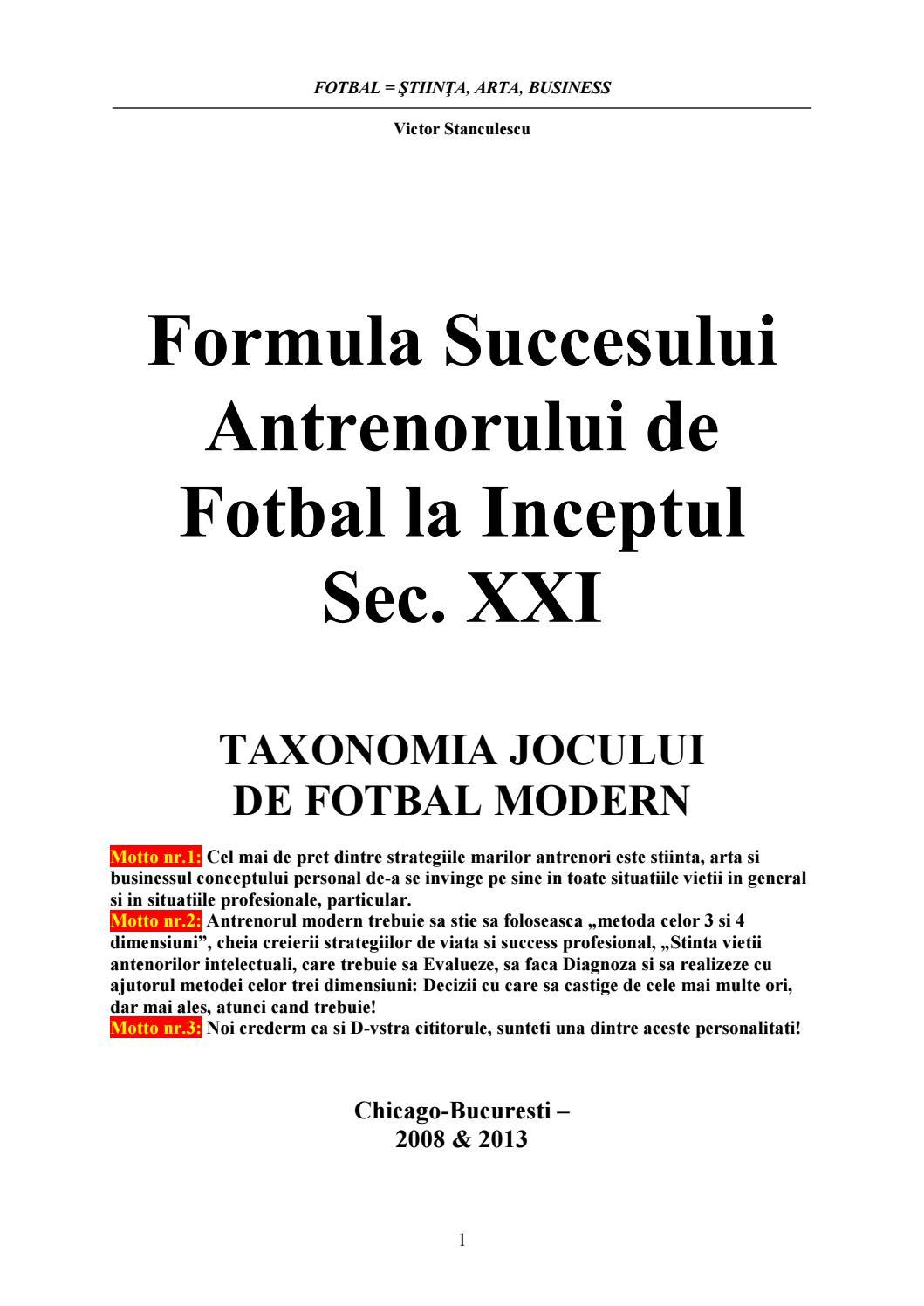 Cartea antenorului de fotbal modern la inceptul secolului al