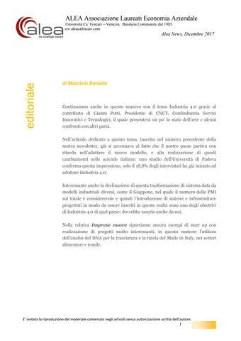 Aleanews Industria 4 0 Innovazione E Startup By Ca Foscari Alumni