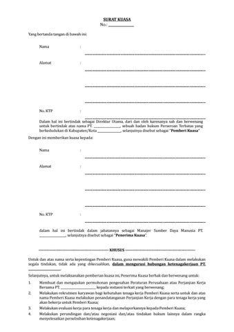 18 Draf Surat Kuasa Manajer Hrd Untuk Mengurusi Hubungan