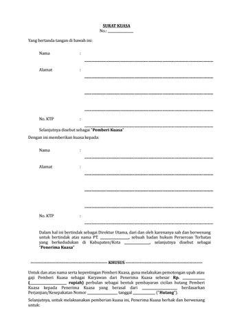 19 Draf Surat Kuasa Untuk Melakukan Pemotongan Gaji Karyawan