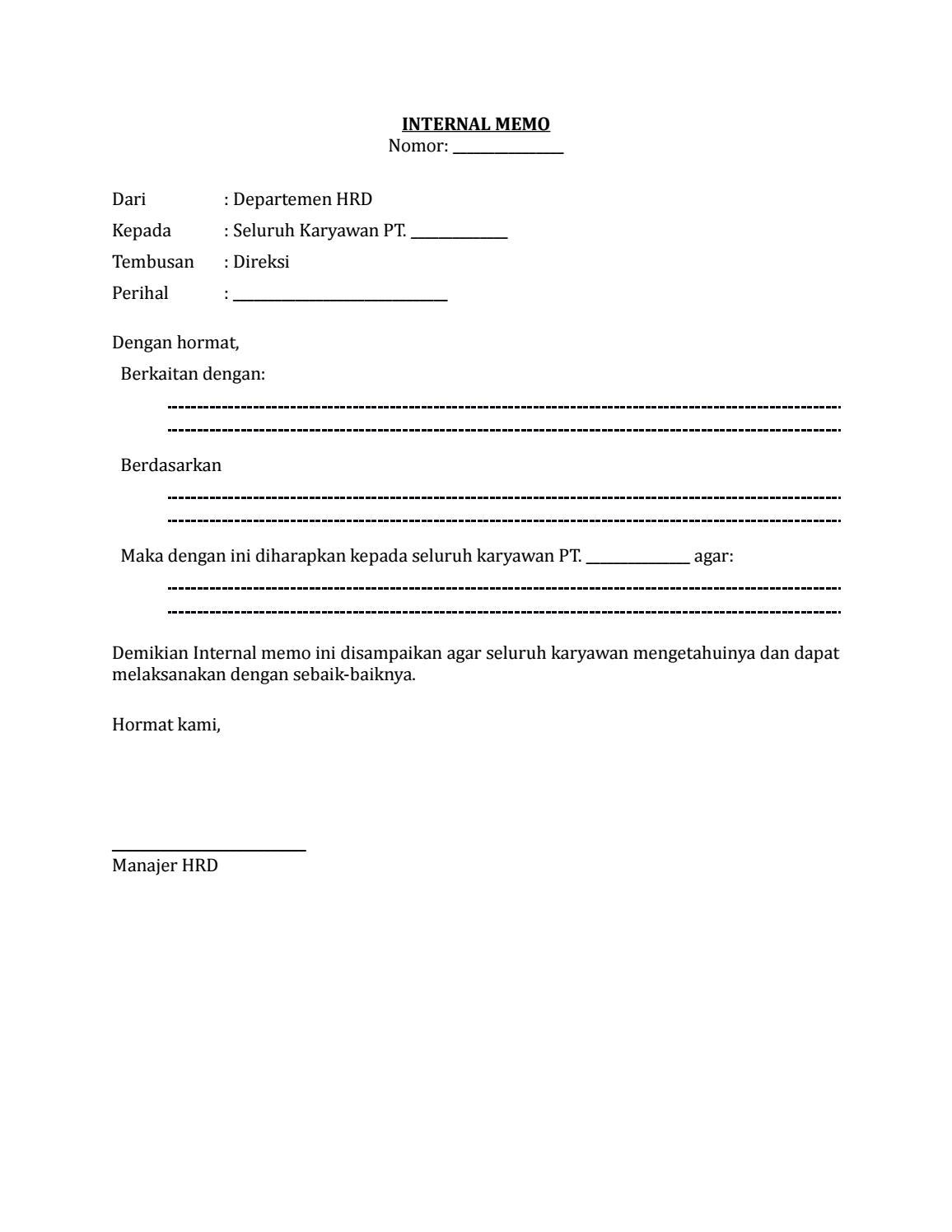 17 Draf Surat Internal Memo Surat Edaran Hrd By Arif