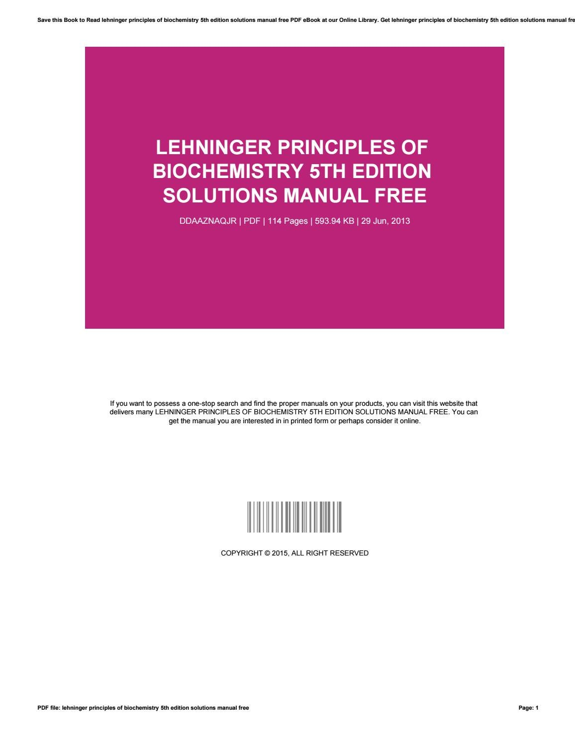 Lehninger principles of biochemistry 5th edition solutions manual free by  mailfs156 - issuu