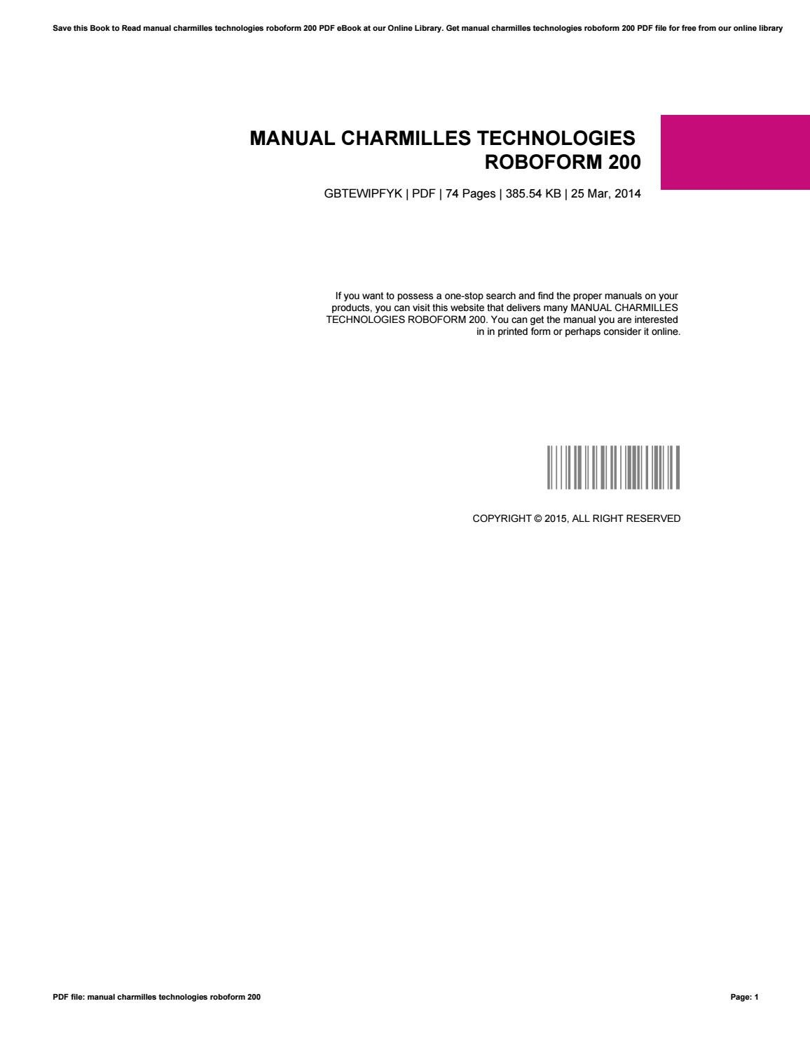 manual charmilles technologies roboform 200