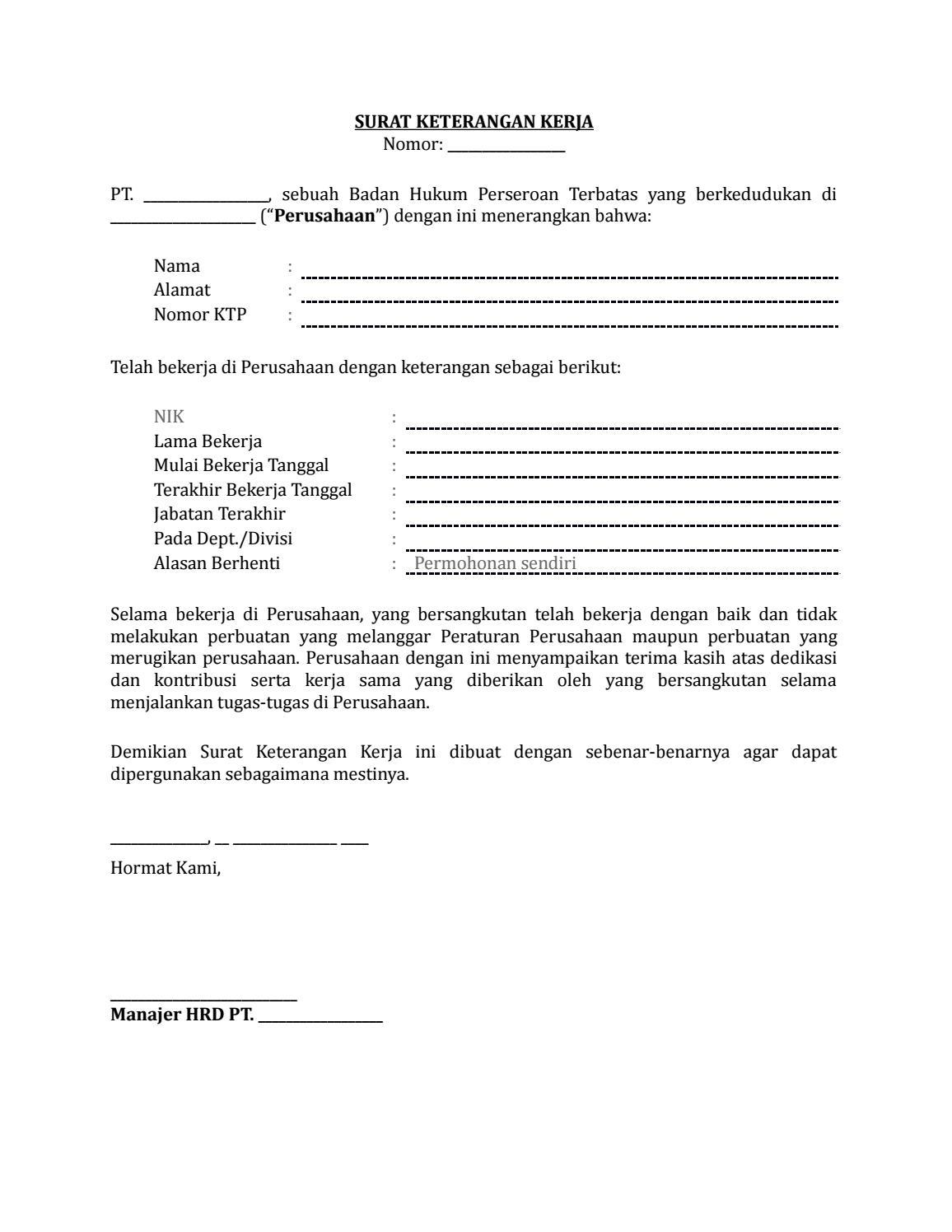 22 Draf Surat Keterangan Kerja Karyawan By Arif Edison