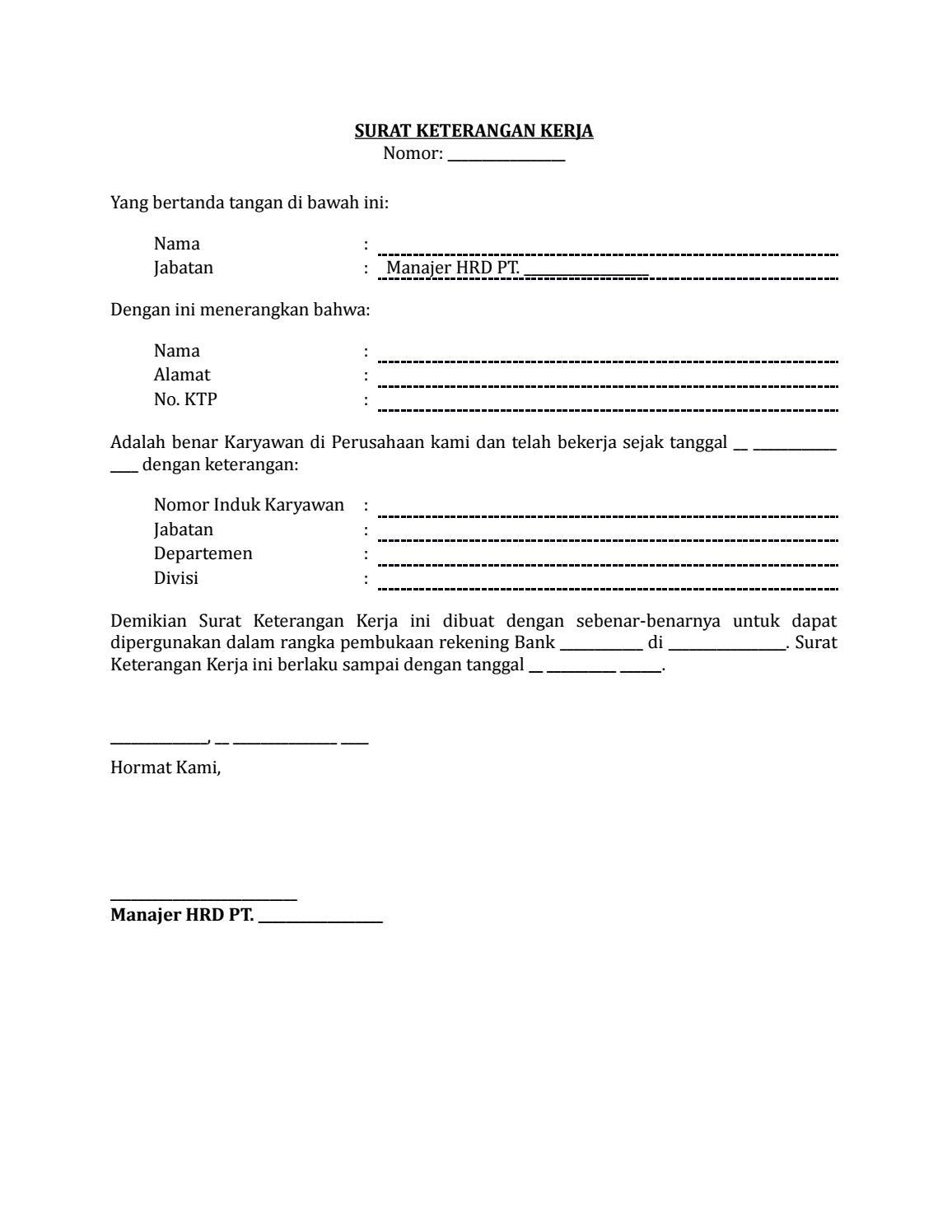 25 Draf Surat Keterangan Kerja Untuk Membuka Rekening Bank