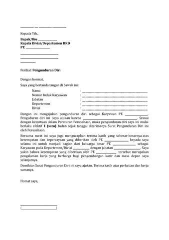 26 Draf Surat Pengunduran Diri Karyawan By Arif Edison