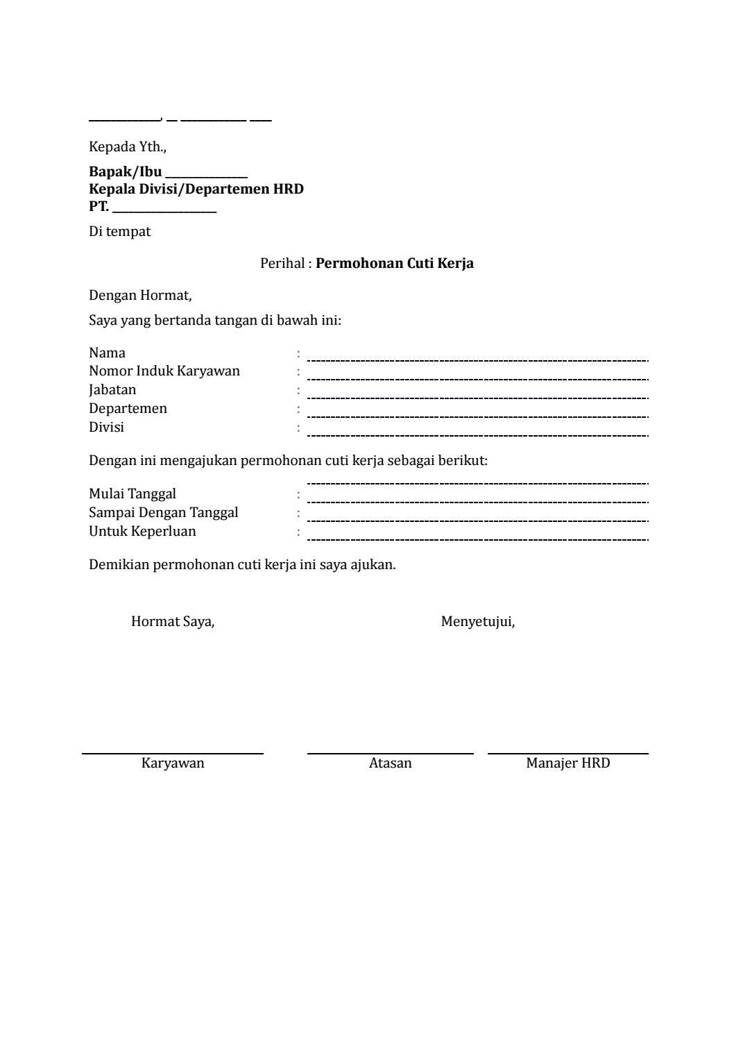 27 Draf Surat Permohonan Cuti Kerja By Arif Edison Lawyer