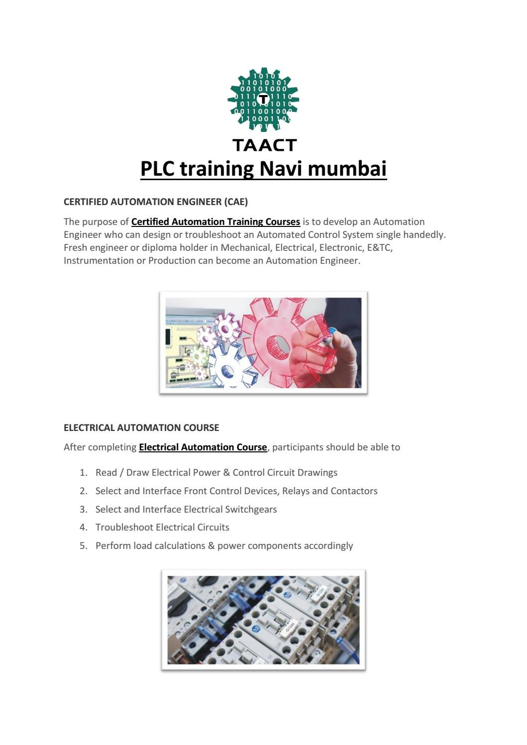 Plc Training Navi Mumbai By Taact In Automation Issuu Troubleshooting The Basic Electrical Control Circuits System