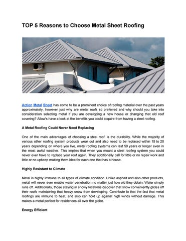 Top 5 Reasons To Choose Metal Sheet Roofing By Action Sheet Metal Issuu