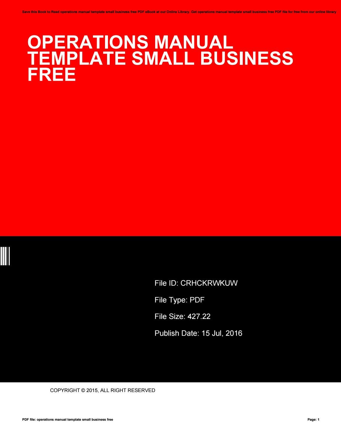 Operations Manual Template Small Business Free By Cutout52 Issuu