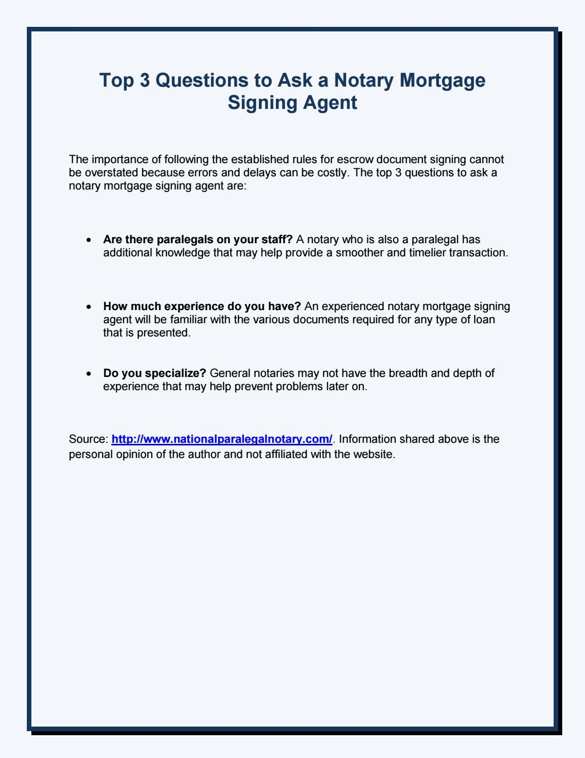 Top 3 Questions to Ask a Notary Mortgage Signing Agent by