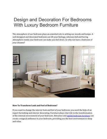 Design And Decoration For Bedrooms With Luxury Bedroom Furniture By