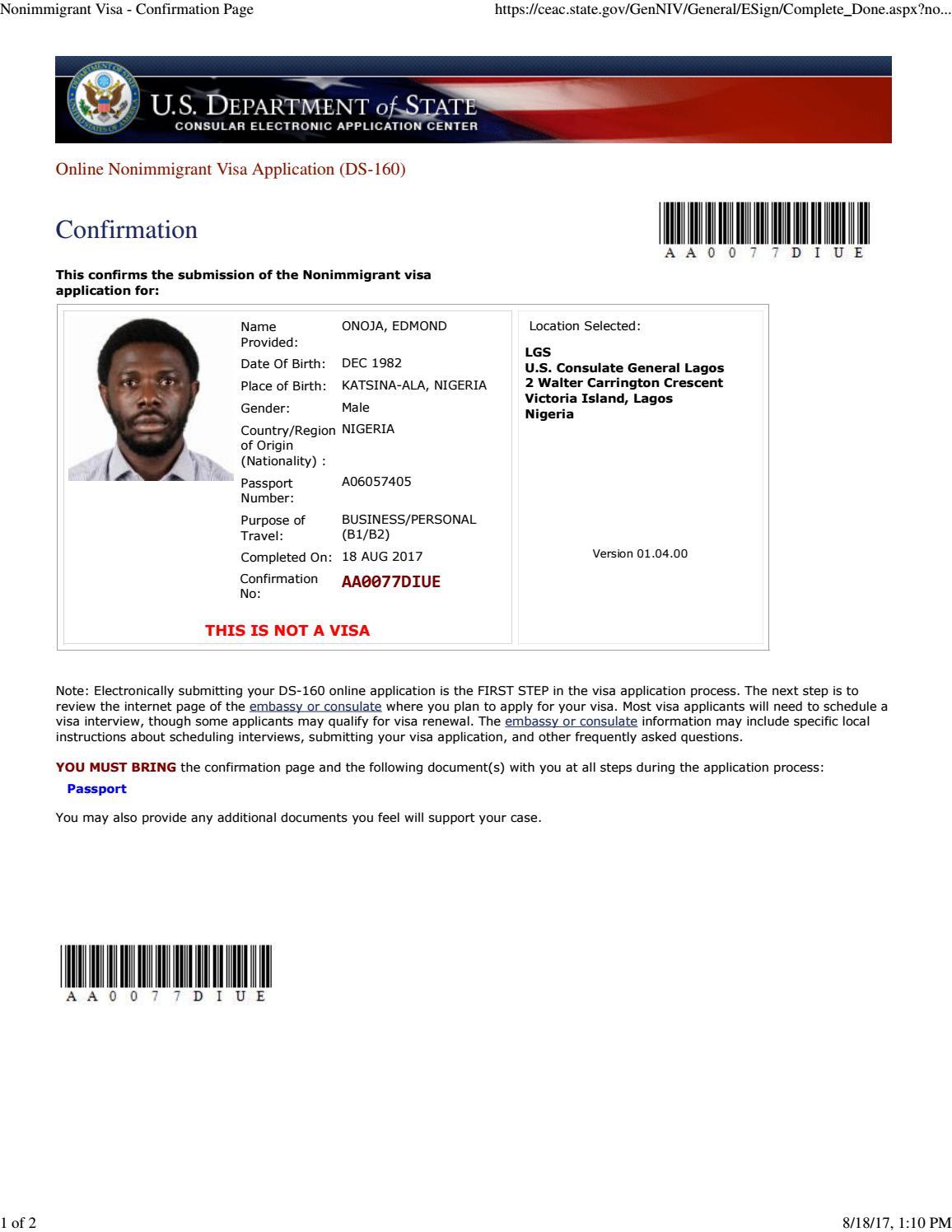 nonimmigrant visa confirmation page by edmonoja