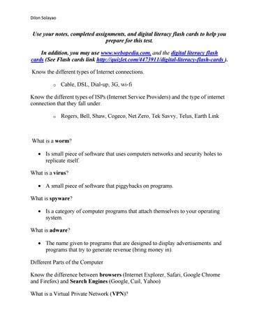 Unit 1 digital literacy test review docx vol 1 by dilon
