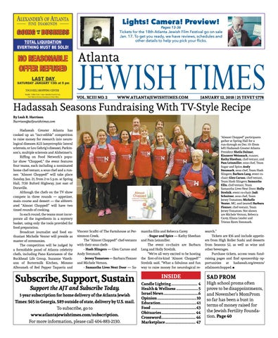 Atlanta Jewish Times Vol Xciii No 2 January 12 2018 By Atlanta
