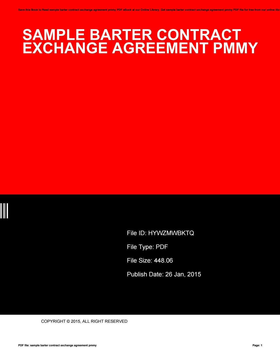 Sample Barter Contract Exchange Agreement Pmmy By Aju24