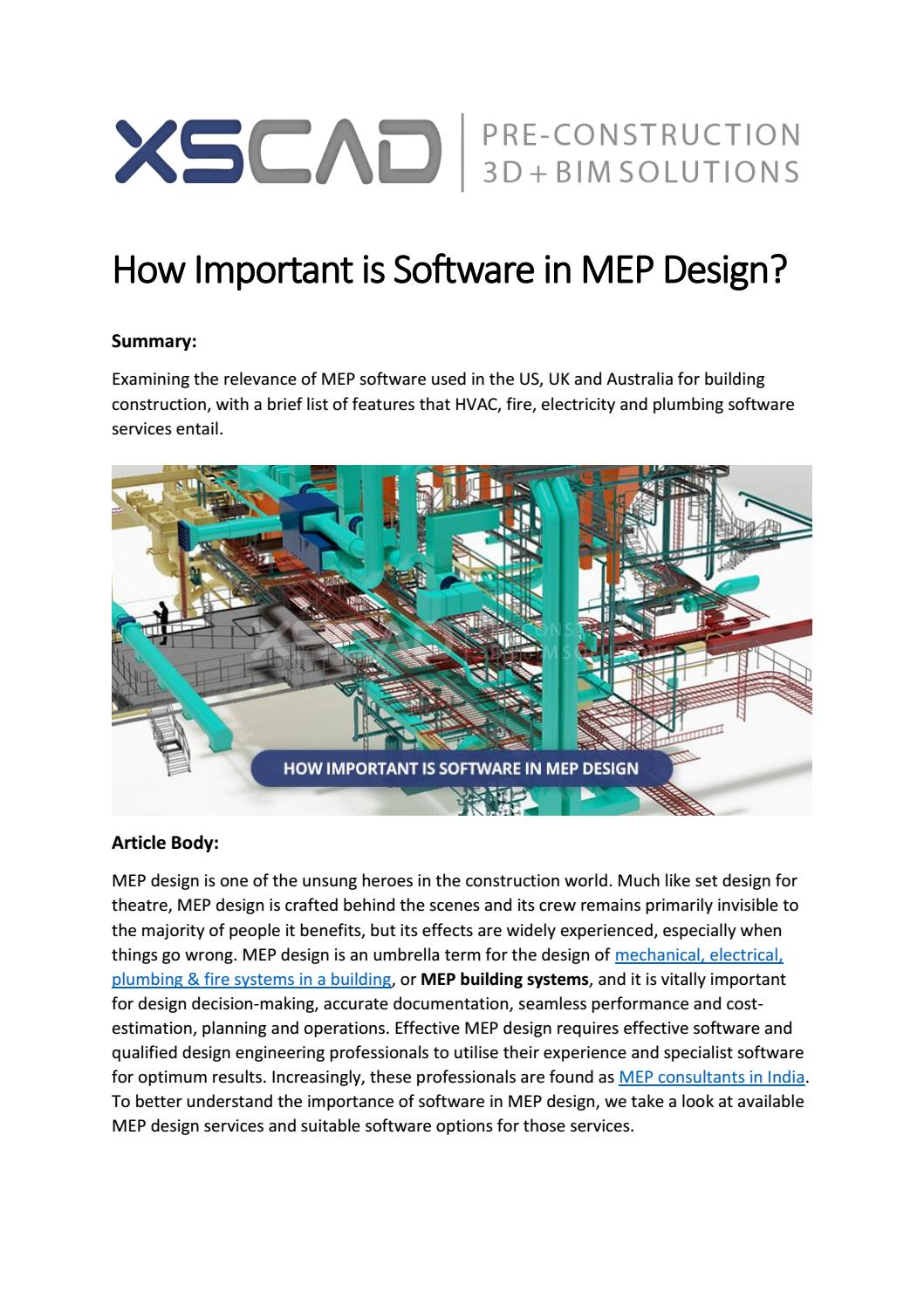 How Important Is Software In Mep Design By Kuldeep Bwail Issuu