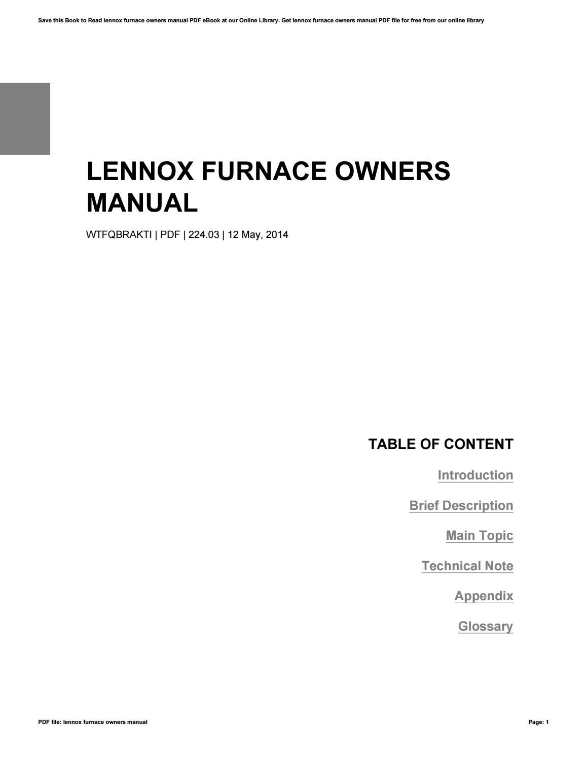 Lennox furnace Owners Manual