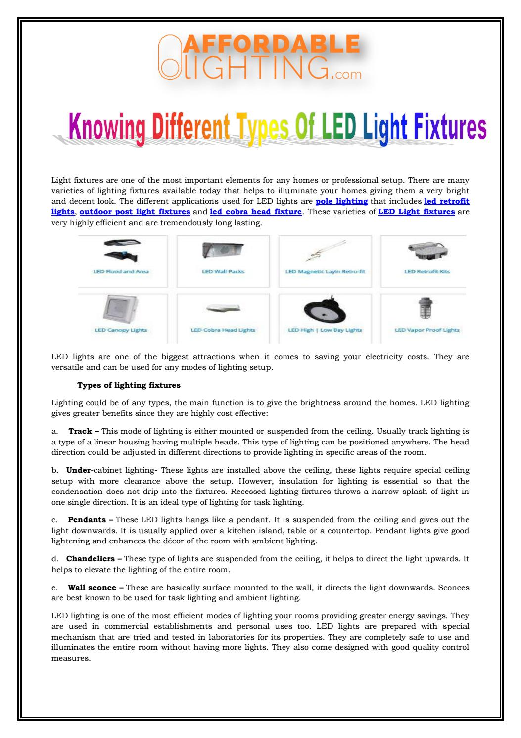 Knowing different types of led light fixtures by sophia james issuu