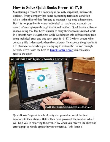 How to Solve QuickBooks Error -6147, 0 by Quickbooks Support - issuu