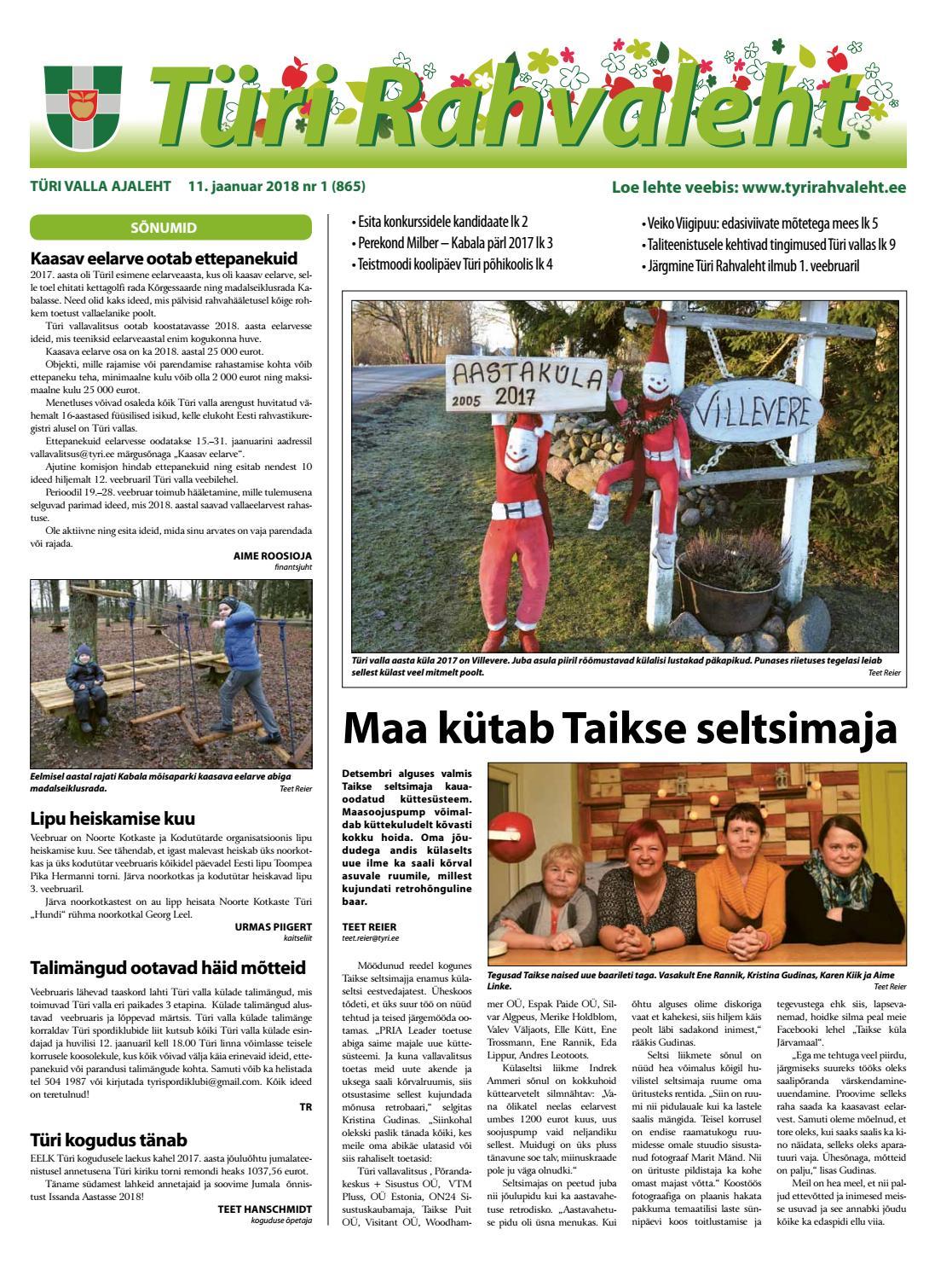94fd505cd6b 11.01.2018 Türi Rahvaleht by Tyri Development Agency - issuu