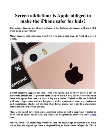 Teens Who Spend Less Time In Front Of >> Screen Addiction Is Apple Obliged To Make The Iphone Safer For Kids