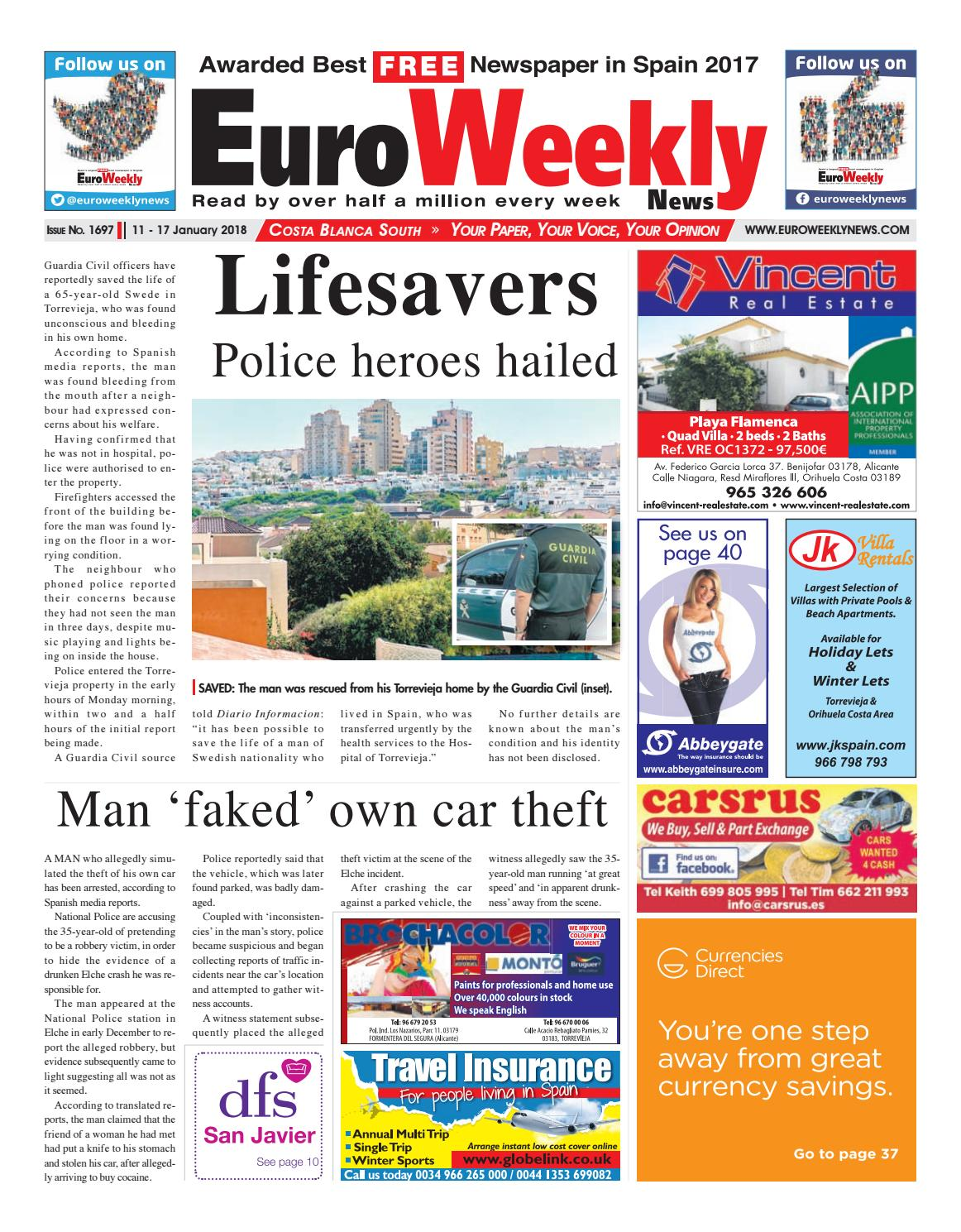 Euro Weekly News Costa Blanca South 11 17 Jan 2018 Issue 1697  # Muebles Lira Gold