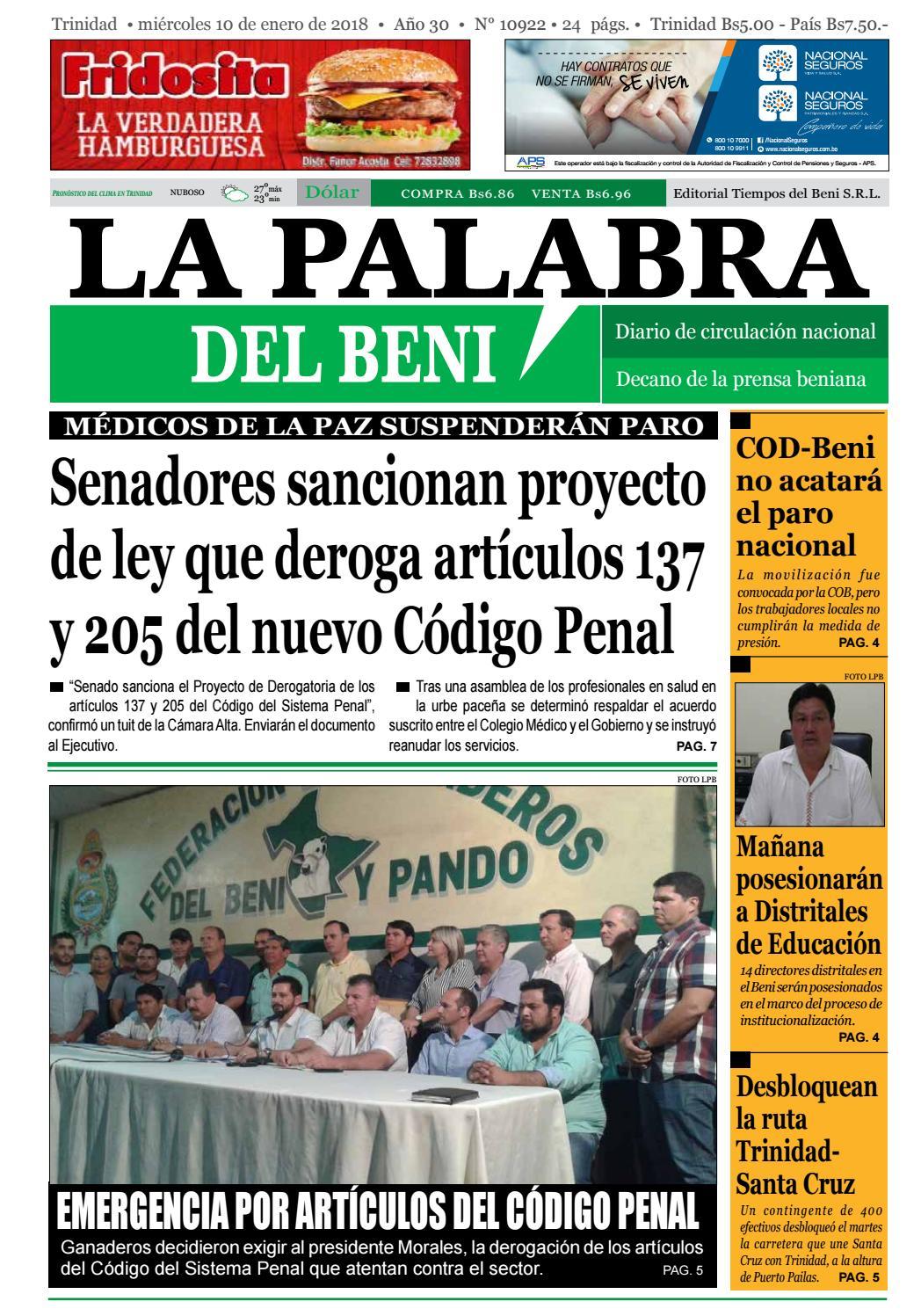 La Palabra del Beni, 10 de Enero de 2018 by La Palabra del Beni ...