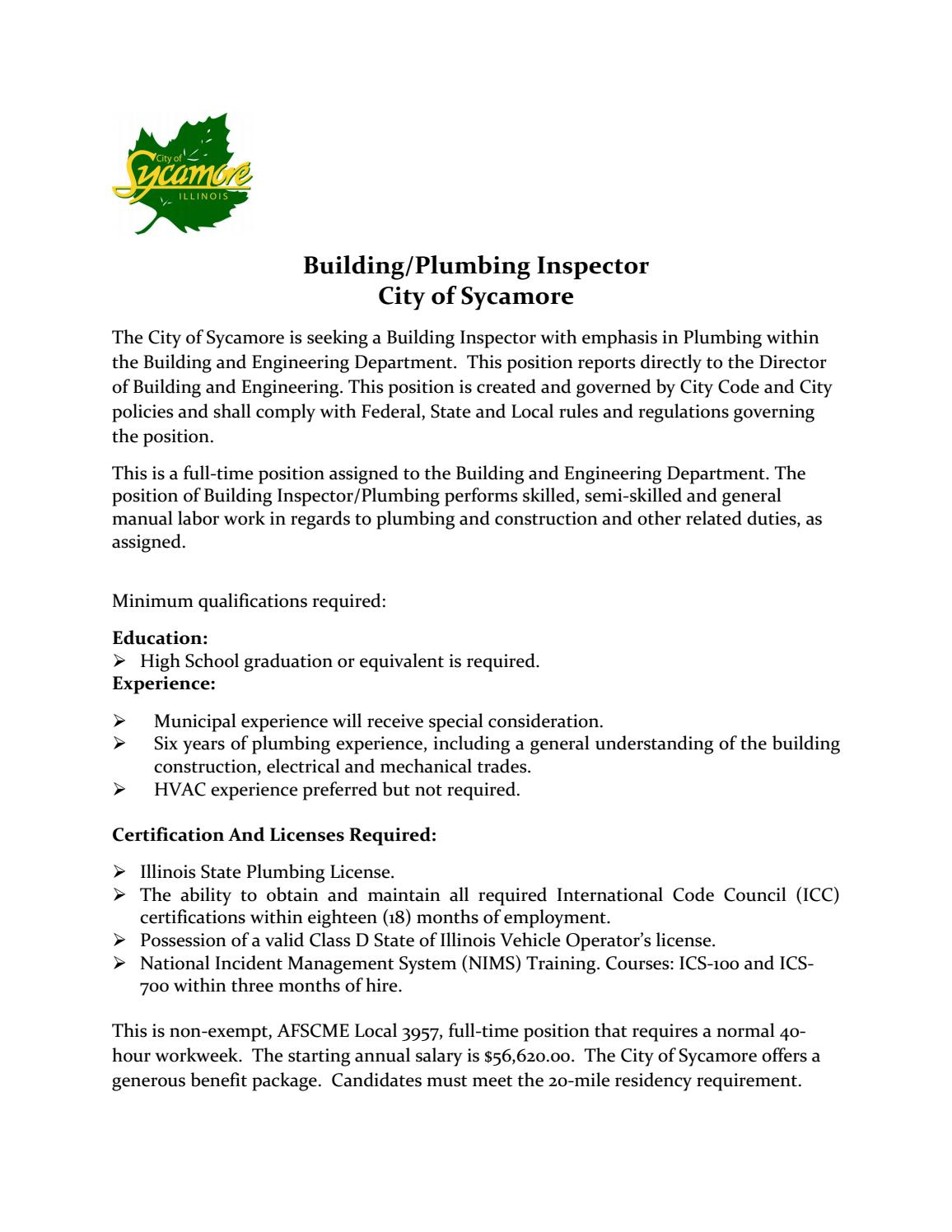 Sycamore Buildingplumbing Inspector By Nwboca Issuu
