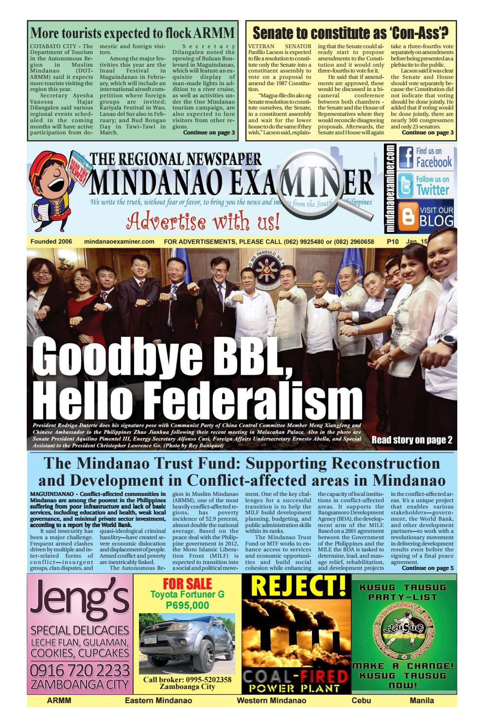 Mindanao Examiner Regional Newspaper Jan.