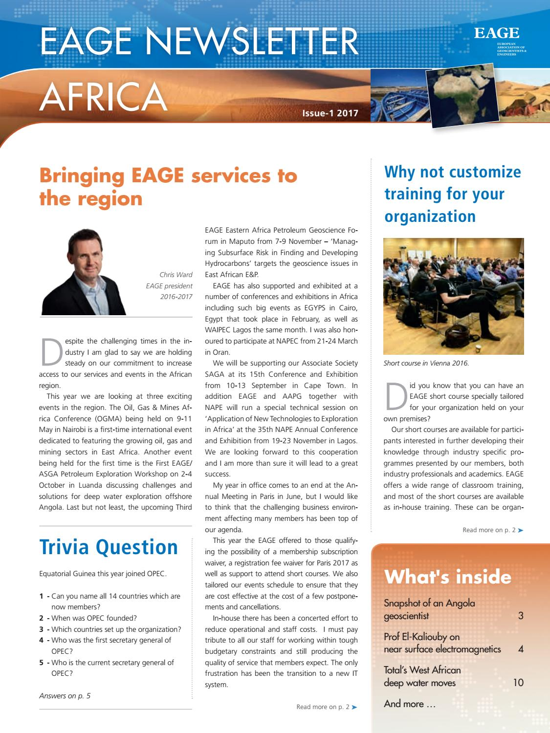 EAGE Newsletter Africa 2017 by EAGE - issuu