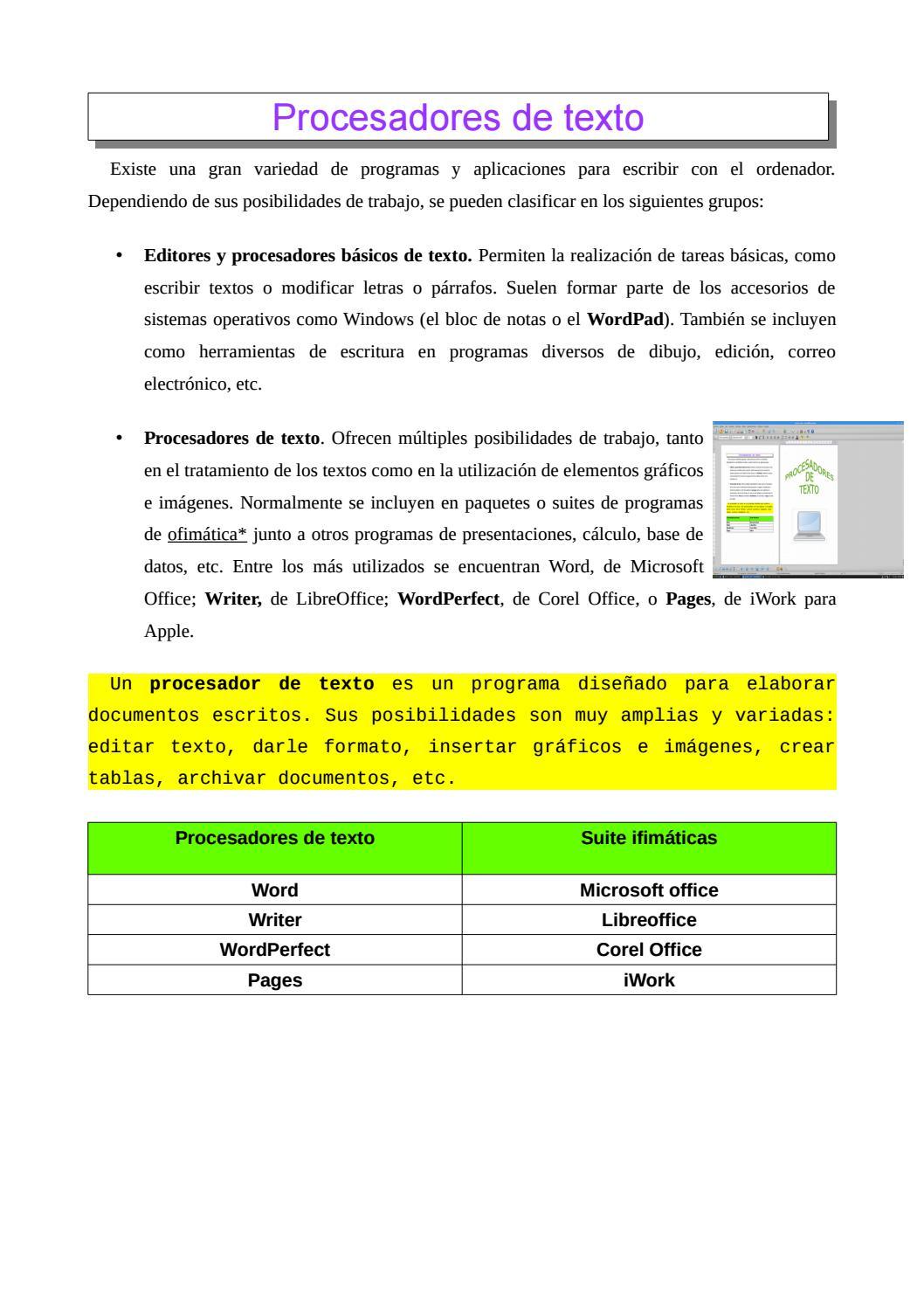 Trabajo Procesadores De Texto By Patricia Thegirlxp Issuu